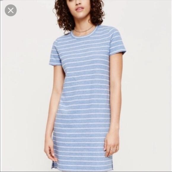 Lou & Grey Dresses & Skirts - LOU & GREY Striped Linen Blend Tee Shirt Dress